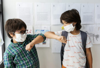 Barcelona Spain, kids back to school with mask and social distance, school new-normal coronavirus covid19 tween teenager kids barcelona education (Barcelona Spain, kids back to school with mask and social distance, school new-normal coronavirus covid1